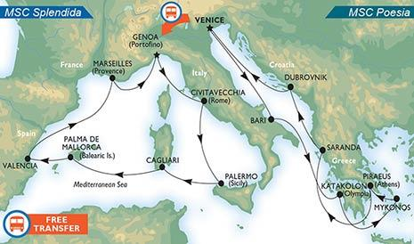 Grand Mediterranean Fly and Cruise package with MSC cruises